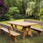 A set of two benches and a table